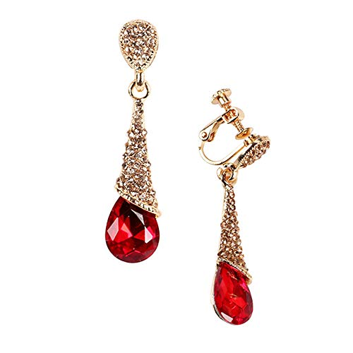 (Dangle Crystal Clip on Earrings For Women Elegent No Piercing Rhinestone Pendent Charms Jewelry)