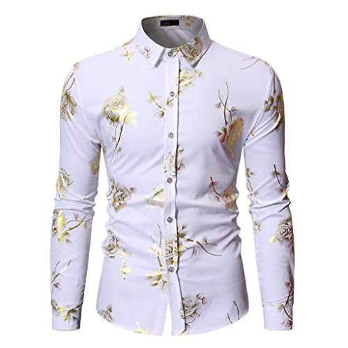 Koolsants 2019 Men's Button Down Floral Shirt, Slim Fit Dress Shirt Long Sleeve 70s Printed Casual Button Down Shirts White