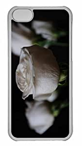 Customized iphone 5C PC Transparent Case - White Roses 2 Personalized Cover