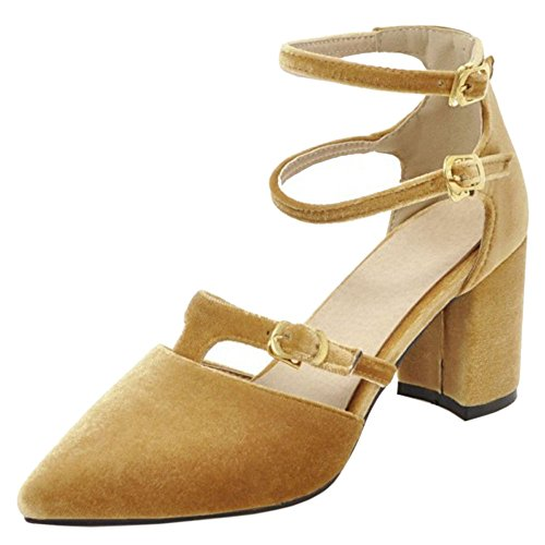 Coolcept Women Buckle Strap Spring Summer Shoes Yellow