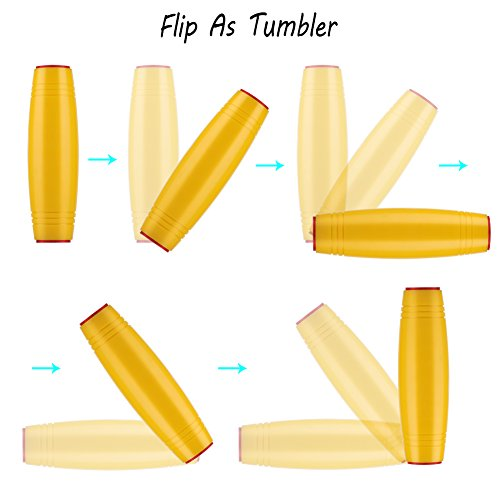 416KrhIzpjL - HITASION Flip Tumbler Desktop Toy Fidget Rolling Stick Toy for Kids Teens Adults (Yellow)