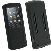 igadgitz Black Silicone Skin Case Cover Holder for Sony Walkman NWZ-E463 NWZ-E464 E Series Video 4gb 8gb MP3 Player + Screen Protector