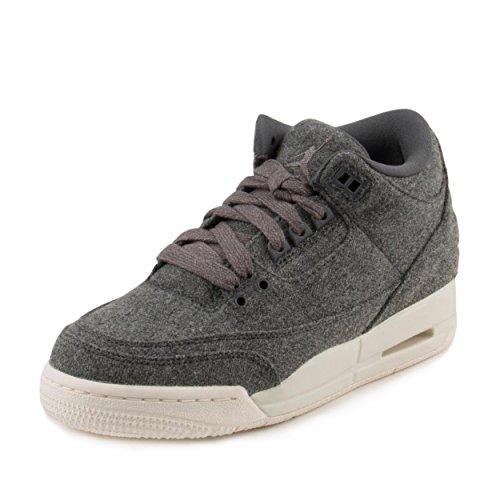 Jordan Nike Kids Air 3 Retro Wool BG Dark Grey/Dark Grey Sail Basketball Shoe 6 Kids - 3 Retro Kids