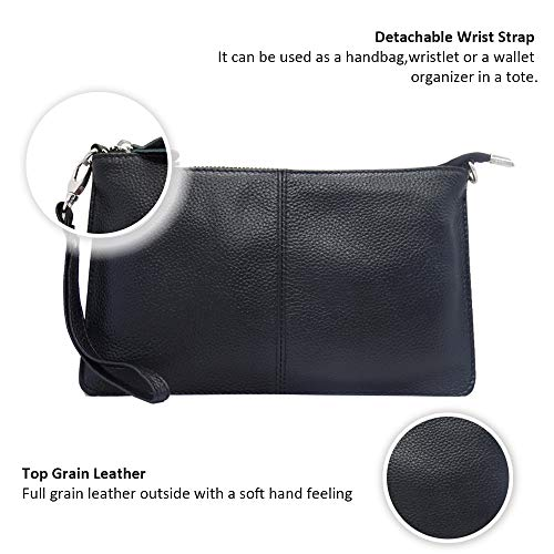 Wallet Clutch Phone Purse Wristlet Card Women's with Crossbody Befen Slots Mini Leather Bag Black qwH6axZ