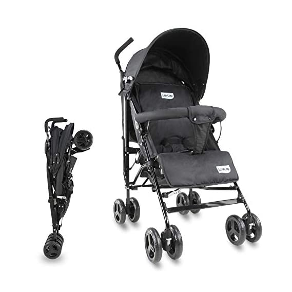LuvLap Joy Stroller/Buggy, Compact & Travel Friendly, for Baby/Kids, 6-36 Months (Black)