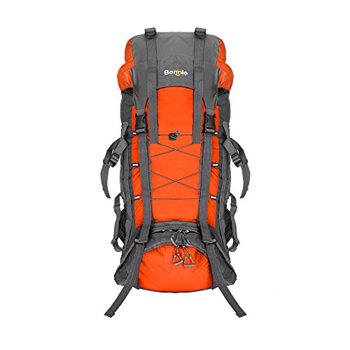 Bonnlo 60L Hiking Backpack with Internal Frame, Travel Daypack Waterproof with Rain Cover, Upgraded, High-Performance Packs, Large Capacity, for Outdoor Sports Climbing Camping (Orange)