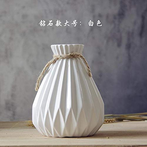 Muccus GIEMZA Pleated Vase Ceramics Blue Flowe Striped Vase Modern Pink Brown Pottery Vases Desktop Decor Pleated Skirt Diamond Shape - (Color: White 18.5cm)
