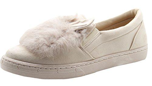 Dames En Daim Mocassins Appartements De Fourrure Espadrilles Occasionnelles Chaussures Escarpins Beige