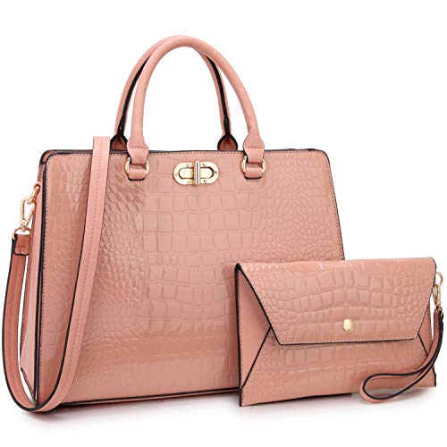 Satchel Handbags for Women Stylish Purse Shoulder Bag with Matching Wirstlet ()