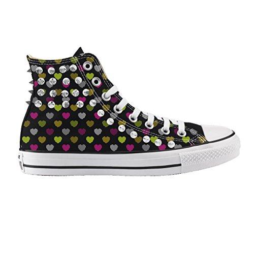 Artisanales Coeurs Argent Star Chaussures Goujons Alta Noir Petits Personnalisé Imprimé Avec All Converse tqz7Agw