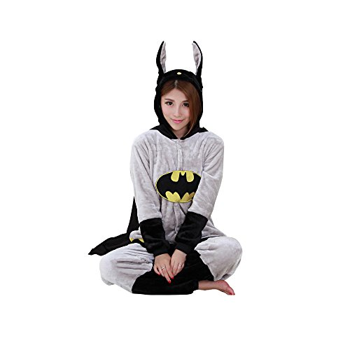 Adult Batman Onesie Costume & Pajamas for Women & Men (M (160cm-169cm))