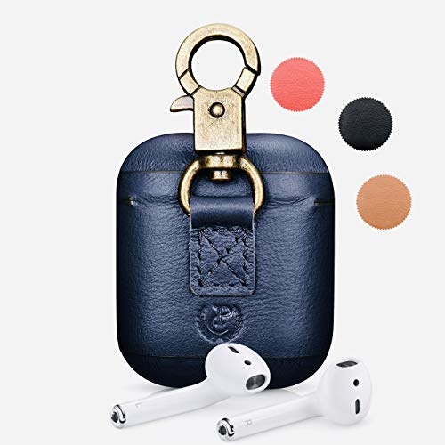 CairPods New York Premium Nappa Hook Series Leather Case for Apple AirPods with Metal Keychain Hook (Navy Blue)