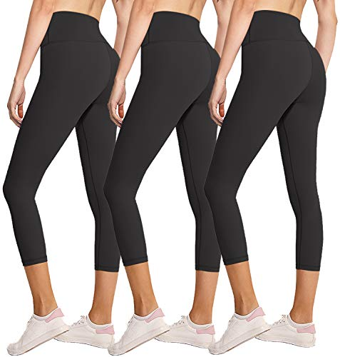 3 Pack Capri Leggings for Women Butt Lift-High Waisted Tummy Control Black Workout Yoga Pants