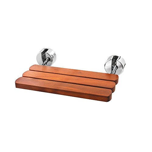 Find Bargain Mr. Steam MS WALLSEAT PC Teak Wood Wall-Mounted Seat for Steambath, Polished Chrome