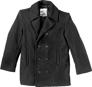 Amazon.com: Black Wool US Navy Type Winter Peacoat 7070 Size Extra ...