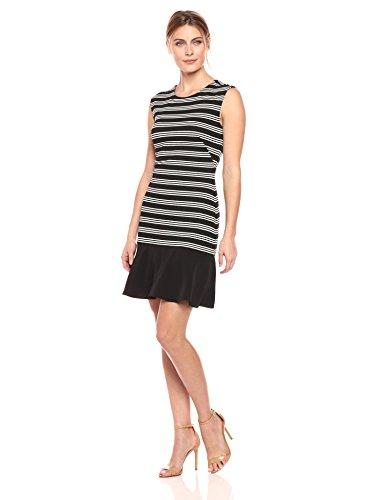 Lark & Ro Women's Sleeveless Sheath Dress with Hem Ruffle, Black/White, - Sheath Striped
