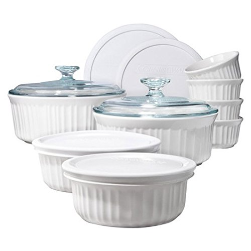 CorningWare 1094026 French 14-Piece Bakeware Set, White