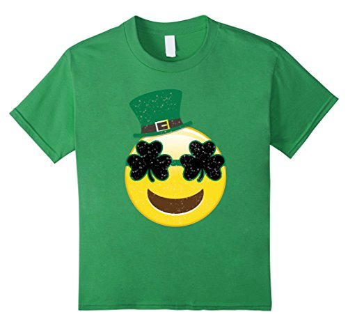 Kids Emoji Smile Tshirt - Kids St Patricks Day Shirts 10 Grass (St Pats T Shirts)
