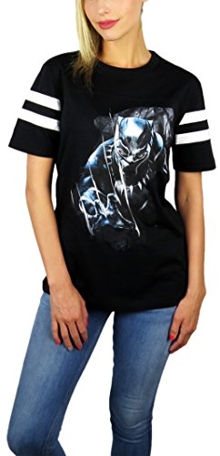Disney Marvel Womens Black Panther Varsity Football Tee (Black, Large) -