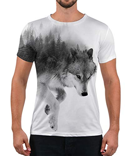 (Alistyle Casual 3D Wolf Print Short Sleeve T-Shirts Graphic Pattern Unisex Couple Tees Top Large)