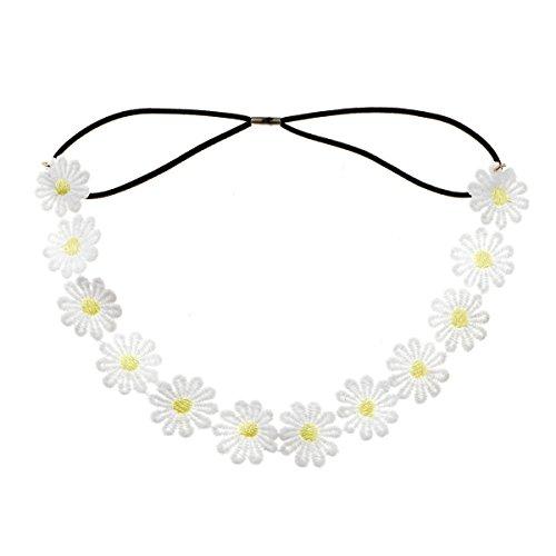 (Accesyes Daisy Flower Headband Sunflower Crown Hair Wreath Bohemian Floral Headpiece for Spring Tourism Wedding Festivals Party)
