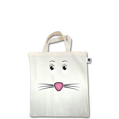 Sonstige Tiere - Maus Gesicht Mouse - Unisize - Natural - XT500 - Fairtrade Henkeltasche / Jutebeutel mit kurzen Henkeln aus Bio-Baumwolle
