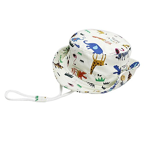 - Baby Toddler Kids Sun Hat with Chin Strap, Breathable Cotton Adjusted Drawstring Strap (9-18 Months, Zoo - Elephant)