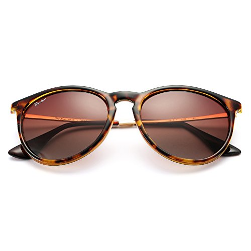 Polarized Sunglasses for Women Classic Round Style 100% UV Protection (Tortoise; Gold/Brown Gradient) by Pro Acme (Image #3)