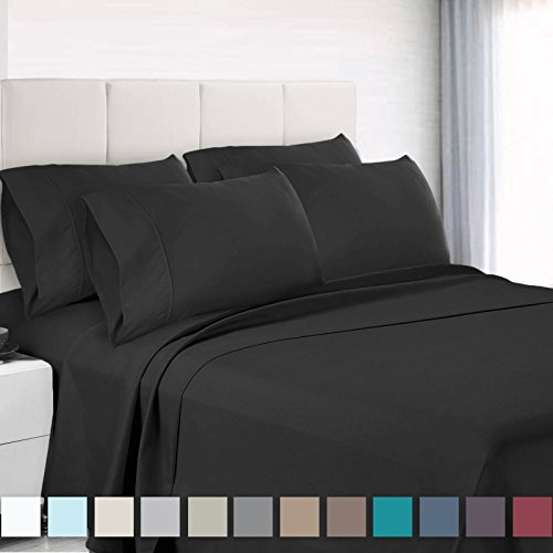 Empyrean Bedding 6 Piece Set - Hotel Luxury Silky Soft Double Brushed Microfiber - Hypoallergenic Wrinkle Free Bed Sheets - Deep Pocket Fitted Sheet, Top Sheet, 4 Pillow Cases, Queen - Black