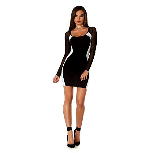 Forplay Mini - Blvd Collection by Forplay Women's Two-Tone Mini Dress with Hour Glass Contrast and Mesh Sleeves, Black, Small