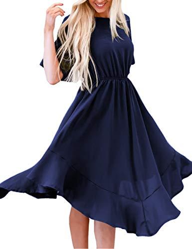 MEROKEETY Women's Summer Short Sleeve Empire Waist Irregular Hem Pleated Swing Midi Dress Navy