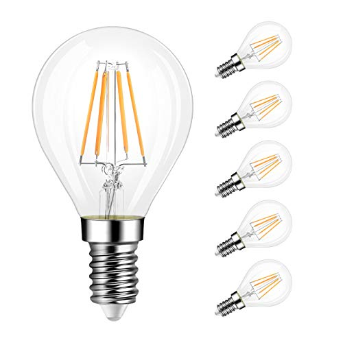 G14 LED Globe Filament Bulb E12 Screw Base, LVWIT Dimmable 40W Equivalent 3000K Soft White Chandelier Edison Light Bulb(6-Pack)