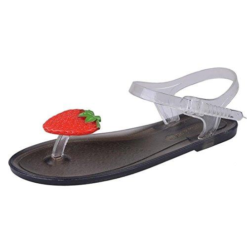 Malloom® Sandalen, Frauen Frucht Flip Flops Sandalen Mädchen Platte Strand Sandalen Schuhe 2- Schwarz Erdbeere