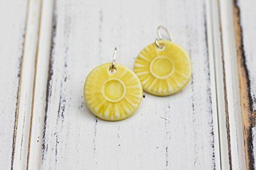 - Round Porcelain Drop Earrings, marigold