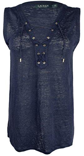 (Lauren Ralph Lauren Women's Lace-Up Linen Top-I-M Indigo)