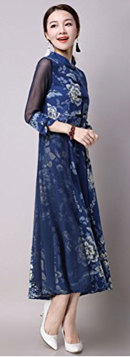 Soojun Collar Patchwork Chiffon Baggy Slim Dress Women's Dresses Stand Linen Blue Hem aawqfHr