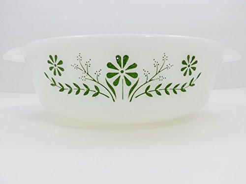 - Vintage Glasbake Green Daisy Floral Milk Glass 2 Quart Casserole Dish