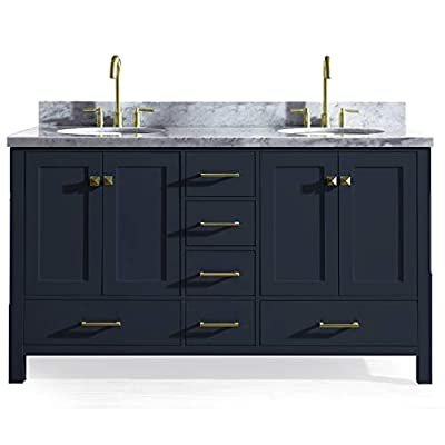 """ARIEL Cambridge A061D-VO-MNB 61"""" Inch Bathroom Vanity Cabinet in Midnight Blue with Carrara White Marble Countertop Round Oval Sinks - ✅ CONSTRUCTION: Experience the luxury of having the well-crafted cabinetry that will make you undergo a refreshing experience like never before. ARIEL brings to you the finest bathroom vanities that will not just add value to your bathroom décor but also make the access to toiletries much easier ✅ DESIGN: Double sink vanity with 4 soft-closing doors with adjustable hinges and 6 full-extension self-closing drawers with under-mount drawer glides for added stability to meet all your storage needs. Your energizing splashes with the water will not deteriorate the supreme Solid hardwood plywood construction ✅ FEATURES: Carrara White Marble countertop with 1.5"""" edge and matching backsplash. Painted with midnight blue to complement your contemporary bathroom space. 2 UPC certified oval ceramic under-mount sink and satin brass finish hardware included - bathroom-vanities, bathroom-fixtures-hardware, bathroom - 416Kw67nEmL. SS400  -"""