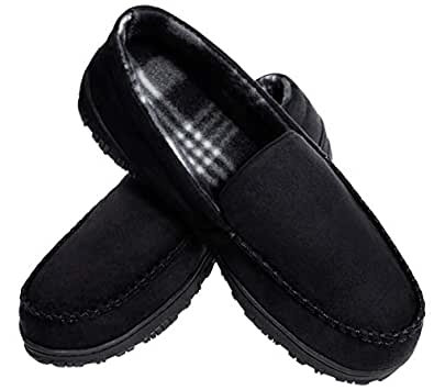 MIXIN Mens Cozy Memory Foam Moccasins Slippers Black 8M