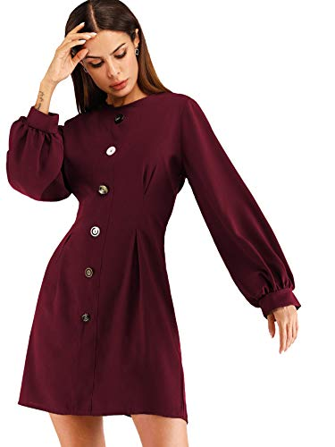 Milumia Women's Casual Button Up Long Sleeve Boat Neck Waist Short Dress Burgundy XL (Dress Birthday Bishop)