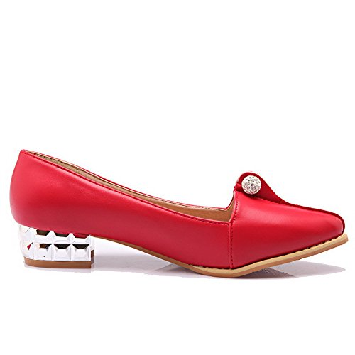 ... AllhqFashion Damen Spitz Zehe Ziehen auf PU Leder Eingelegt Niedriger  Absatz Pumps Schuhe Rot ...