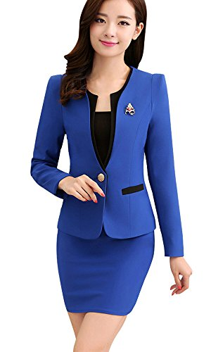 - Kangqifen Women's Long Sleeve Business Offcie Suit Skirt Set (Large, Royal Blue)