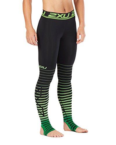 2XU Women's Elite Power Recovery Compression Tights, Black/Green, - Woman Triathlon Of Power