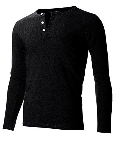 FLATSEVEN Men's Slim Fit Casual Long Sleeve Henley T Shirt (THL100) Black, (Long Sleeve Henley Tee)
