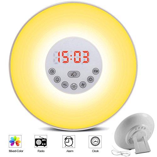 totobay Wake Up Light, {2nd Generation} Sunrise Simulation Snooze Alarm Clock Bedside Night Light with Nature Sounds, FM (Bird Sound Alarm Clock)