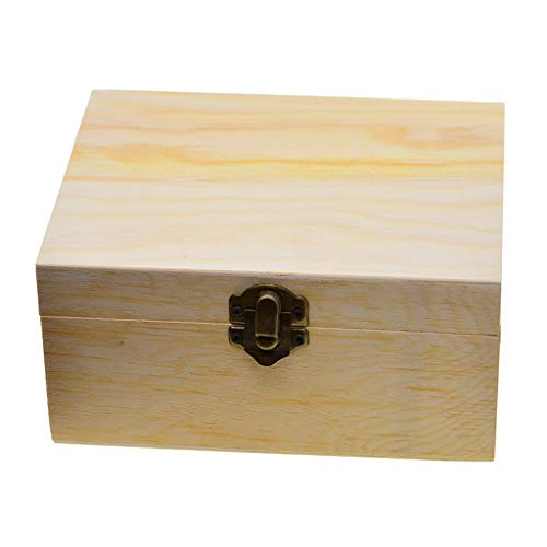 Fityle Unpainted Wood Jewelry Box Organizer Storage Container Hinged Box with Metal Clasp, Removable Interior Trays & Mirror Inside The hinged lid