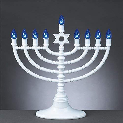 11.5'' White Electric Hanukkah Menorah with Blue LED Bulbs