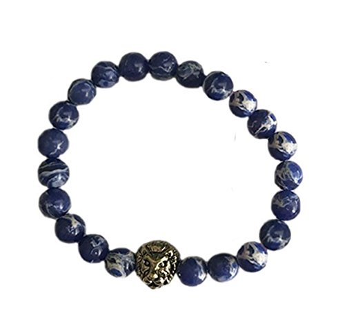 Big Cat Rescue Genuine Cobalt Blue Jasper Stone Beads Stretchy Elastic Bracelet with Lion Head Charm, 8mm, Unisex, for Friendship, Couples, Teens by Big Cat Rescue