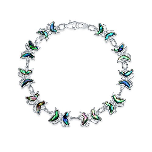 Garden Rainbow Abalone Shell Inlay Butterfly Bracelet For Women For Teen 925 Sterling Silver