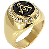 The New Czech 18k Gold Diamond Ring Titanium Plated Masonic Ring Rc-005 (us
